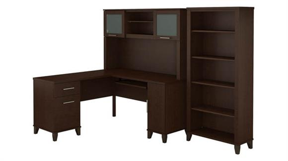 "L Shaped Desks Bush Furniture 60"" W L-Shaped Desk with Hutch and 5 Shelf Bookcase"