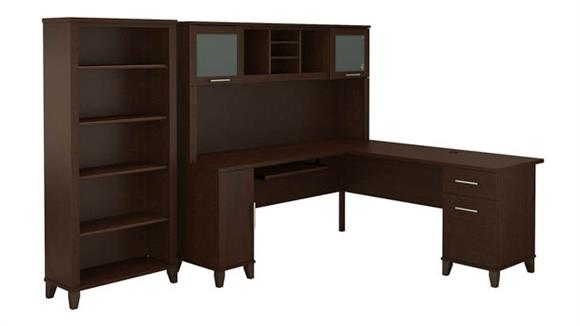 "L Shaped Desks Bush Furniture 72"" W L Shaped Desk with Hutch and 5 Shelf Bookcase"