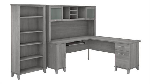 "L Shaped Desks Bush Furniture 72"" W L-Shaped Desk with Hutch and 5 Shelf Bookcase"