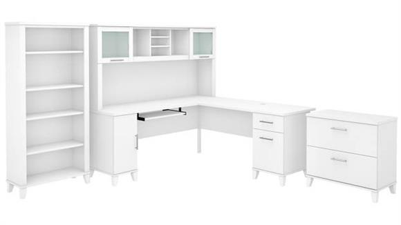 "L Shaped Desks Bush Furniture 72"" W L-Shaped Desk with Hutch, Lateral File Cabinet and Bookcase"