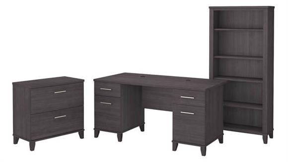"Computer Desks Bush Furniture 60"" W Office Desk with Lateral File Cabinet and 5 Shelf Bookcase"
