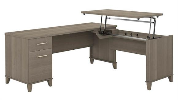 "Adjustable Height Desks & Tables Bush Furniture 72""W 3 Position Sit to Stand L-Shaped Desk"