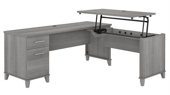 "Adjustable Height Desks & Tables Bush Furniture 72"" W 3 Position Sit to Stand L-Shaped Desk"