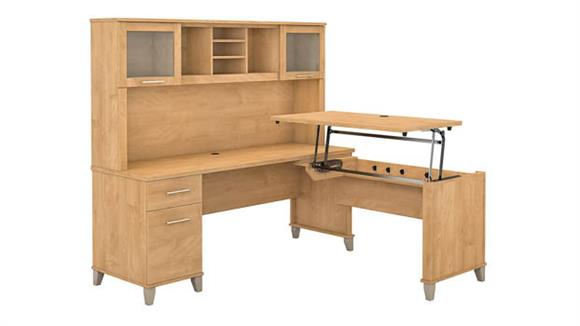 """Adjustable Height Desks & Tables Bush Furniture 72""""W 3 Position Sit to Stand L-Shaped Desk with Hutch"""