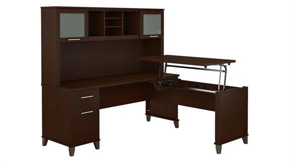 """Adjustable Height Desks & Tables Bush Furniture 72"""" W 3 Position Sit to Stand L-Shaped Desk with Hutch"""