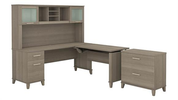 """Adjustable Height Desks & Tables Bush Furniture 72"""" W 3 Position Sit to Stand L-Shaped Desk with Hutch and Lateral File Cabinet"""
