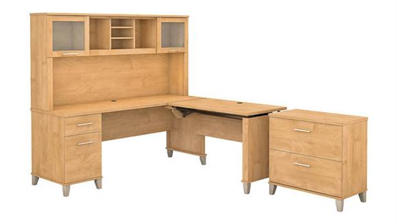"""Adjustable Height Desks & Tables Bush Furniture 72""""W 3 Position Sit to Stand L-Shaped Desk with Hutch and Lateral File Cabinet"""
