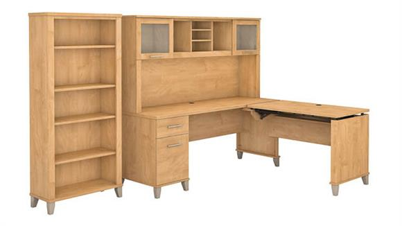 """Adjustable Height Desks & Tables Bush Furniture 72""""W 3 Position Sit to Stand L-Shaped Desk with Hutch and Bookcase"""