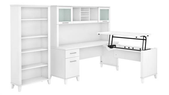 """Adjustable Height Desks & Tables Bush Furniture 72"""" W 3 Position Sit to Stand L-Shaped Desk with Hutch and Bookcase"""