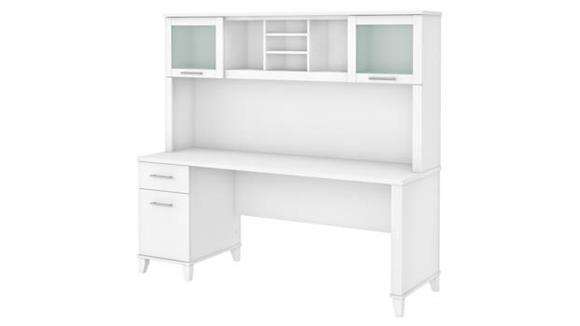 """Computer Desks Bush Furniture 72"""" W Office Desk with Drawers and Hutch"""