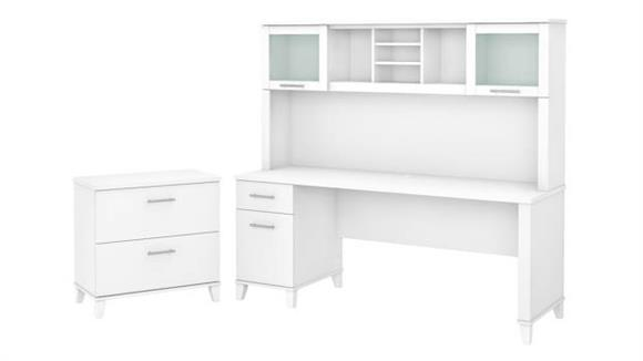 """Computer Desks Bush Furniture 72"""" W Office Desk with Hutch and Lateral File Cabinet"""