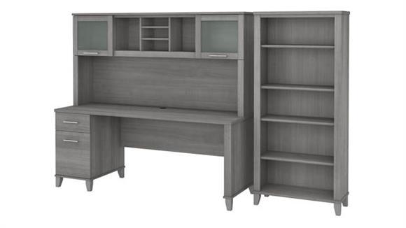 "Computer Desks Bush Furniture 72"" W Office Desk with Hutch and 5 Shelf Bookcase"