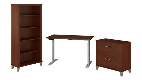 """Adjustable Height Desks & Tables Bush Furniture 48"""" W Height Adjustable Standing Desk with Lateral File Cabinet and 5 Shelf Bookcase"""
