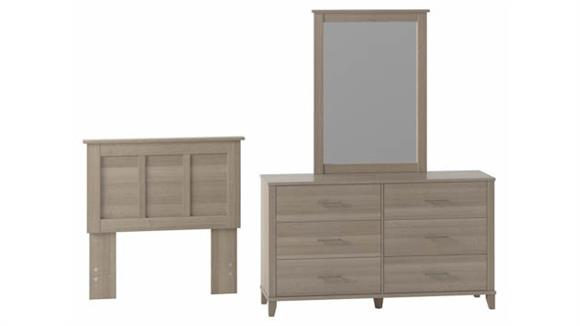 Bedroom Sets Bush Furniture Dresser with Mirror and Twin Size Headboard