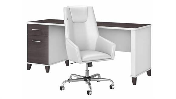 "Computer Desks Bush Furniture 72"" W Office Desk and Chair Set"