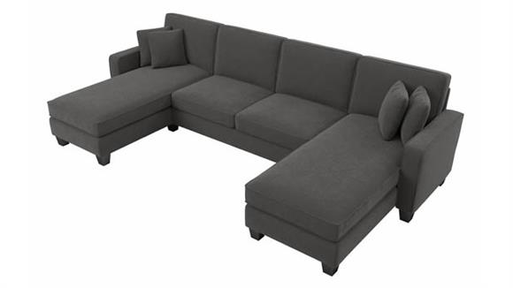 """Sectional Sofas Bush Furniture 130""""W Sectional Couch with Double Chaise Lounge"""