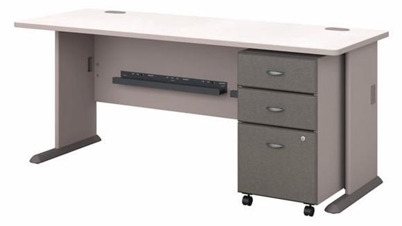 """Computer Desks Bush Furniture 72""""W Desk with Assembled 3 Drawer Mobile File Cabinet"""