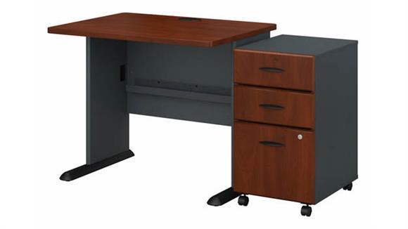 """Computer Desks Bush Furniture 36""""W Desk with Assembled 3 Drawer Mobile File Cabinet"""