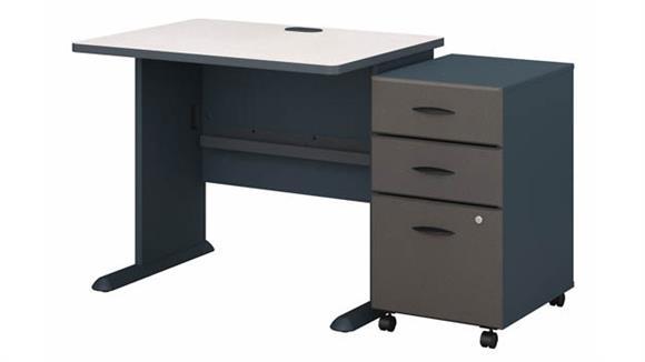 """Computer Desks Bush Furniture 36"""" W Desk with Assembled 3 Drawer Mobile File Cabinet"""