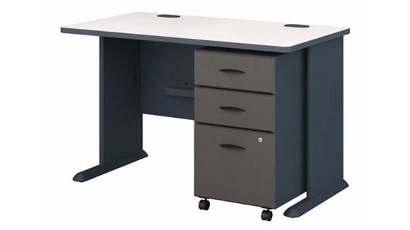 """Computer Desks Bush Furniture 48""""W Desk with Assembled 3 Drawer Mobile File Cabinet"""