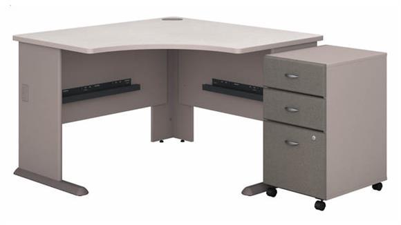 """Corner Desks Bush Furniture 48""""W Corner Desk with Assembled 3 Drawer Mobile File Cabinet"""