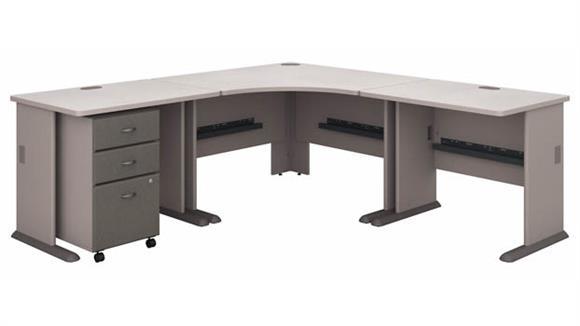 """Corner Desks Bush Furniture 84""""W x 84""""D Corner Desk with Assembled 3 Drawer Mobile File Cabinet"""