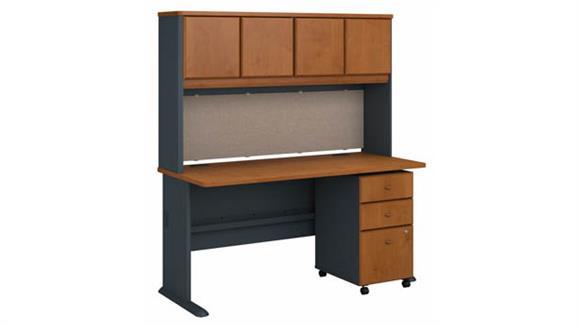 "Computer Desks Bush Furniture 60"" W Desk with Hutch and Assembled 3 Drawer Mobile File Cabinet"