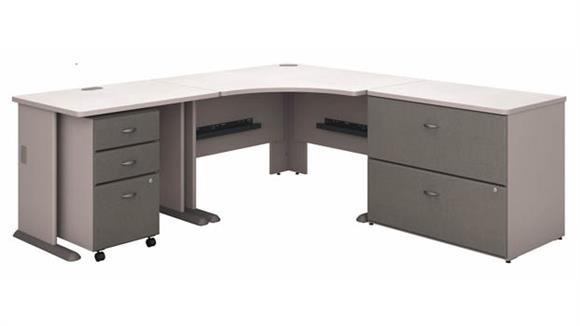 """Corner Desks Bush Furniture 48""""W Corner Desk with 36""""W Return, Assembled 3 Drawer Mobile File Cabinet and Assembled 2 Drawer Lateral File Cabinet"""