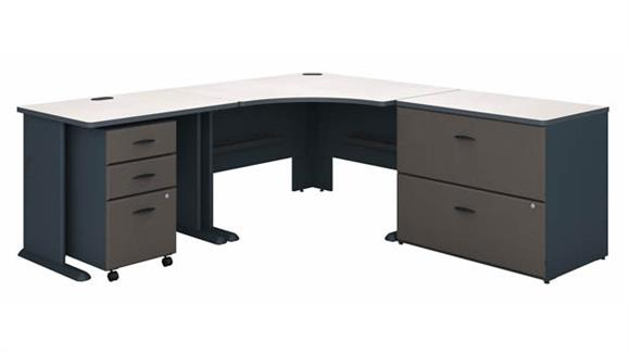 """Corner Desks Bush Furniture 48"""" W Corner Desk with 36"""" W Return, Assembled 3 Drawer Mobile File Cabinet and Assembled 2 Drawer Lateral File Cabinet"""