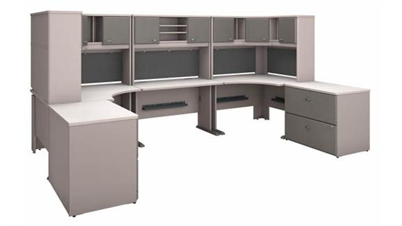 Workstations & Cubicles Bush Furniture 2 Person Workstation with Corner Desks, Hutches and Assembled Lateral File Cabinets