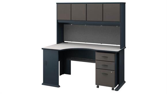 Corner Desks Bush Furniture Left Corner Desk with Hutch and Mobile File Cabinet