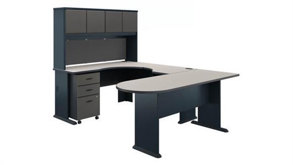U Shaped Desks Bush Furniture U Shaped Corner Desk with Hutch and Mobile File Cabinet