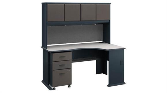 Corner Desks Bush Furniture Right Corner Desk with Hutch and Mobile File Cabinet