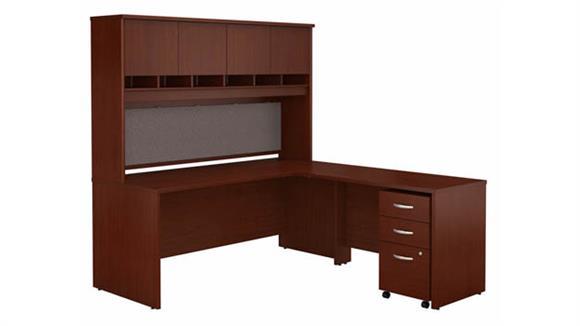 "L Shaped Desks Bush Furniture 72"" W L-Shaped Desk with Hutch and Assembled 3 Drawer Mobile File Cabinet"