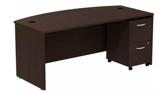 """Computer Desks Bush Furniture 72""""W Bow Front Desk with Assembled 2 Drawer Mobile Pedestal"""