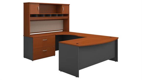 U Shaped Desks Bush Furniture Bow Front U Shaped Desk with Hutch