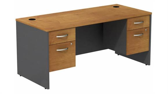 "Computer Desks Bush Furniture 66"" W Desk with (2) Assembled 3/4 Pedestals"