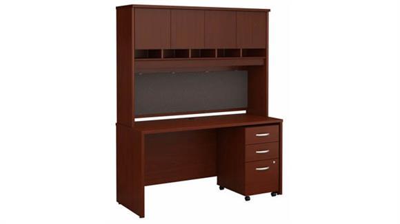 "Computer Desks Bush Furniture 60"" W x 24"" D Office Desk with Hutch and Assembled 3 Drawer Mobile File Cabinet"