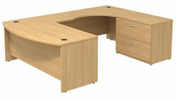 "U Shaped Desks Bush Furniture 72""W Bow Front U-Shaped Desk with Assembled 2 Drawer Lateral File Cabinet"