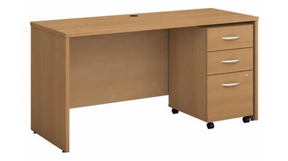 """Computer Desks Bush Furniture 60""""W x 24""""D Office Desk with Assembled 3 Drawer Mobile File Cabinet"""
