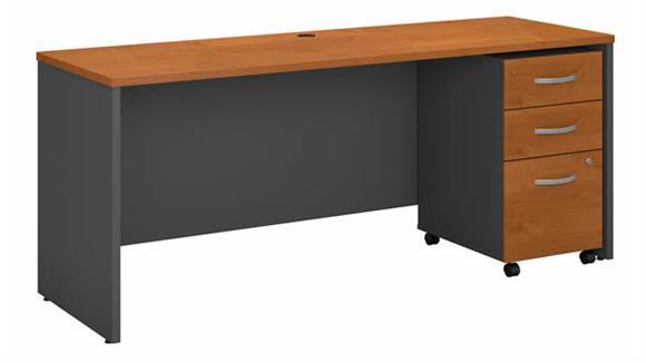 """Computer Desks Bush Furniture 72"""" W x 24""""D Office Desk with Assembled 3 Drawer Mobile File Cabinet"""