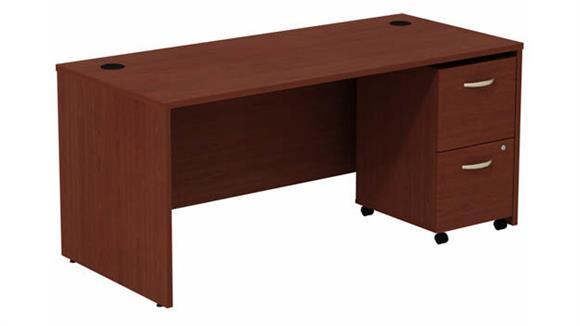 """Computer Desks Bush Furniture 66"""" W Desk with Assembled 2 Drawer Mobile Pedestal"""
