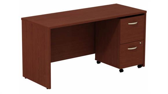 """Office Credenzas Bush Furniture 60"""" W Desk Credenza with Assembled 2 Drawer Mobile Pedestal"""