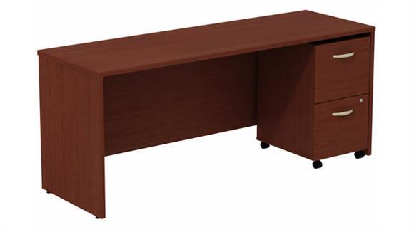 """Office Credenzas Bush Furniture 72"""" W Desk Credenza with Assembled 2 Drawer Mobile Pedestal"""