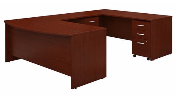 """U Shaped Desks Bush Furniture 72"""" W x 36"""" D Bow Front U-Shaped Desk with (2) Assembled Mobile File Cabinets"""