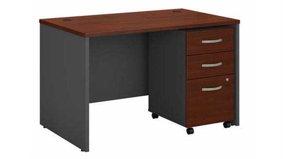 """Computer Desks Bush Furniture 48"""" W x 30"""" D Office Desk with Assembled 3 Drawer Mobile File Cabinet"""