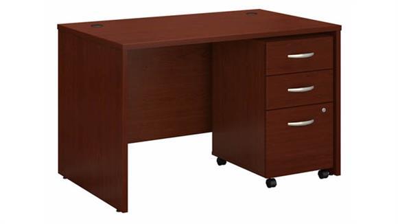 """Computer Desks Bush Furniture 48"""" W x 30""""D Office Desk with Assembled 3 Drawer Mobile File Cabinet"""