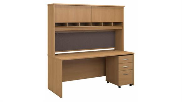 "Computer Desks Bush Furniture 72"" W x 30"" D Office Desk with Hutch and Assembled Mobile File Cabinet"