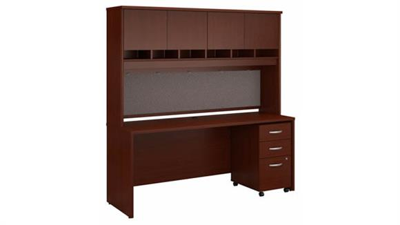 """Office Credenzas Bush Furniture 72"""" W x 24"""" D Credenza Desk with Hutch and Assembled 3 Drawer Mobile File Cabinet"""