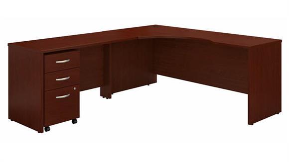 """Corner Desks Bush Furniture 72"""" W Left Handed Corner Desk with 48"""" W Return and Assembled 3 Drawer Mobile File Cabinet"""
